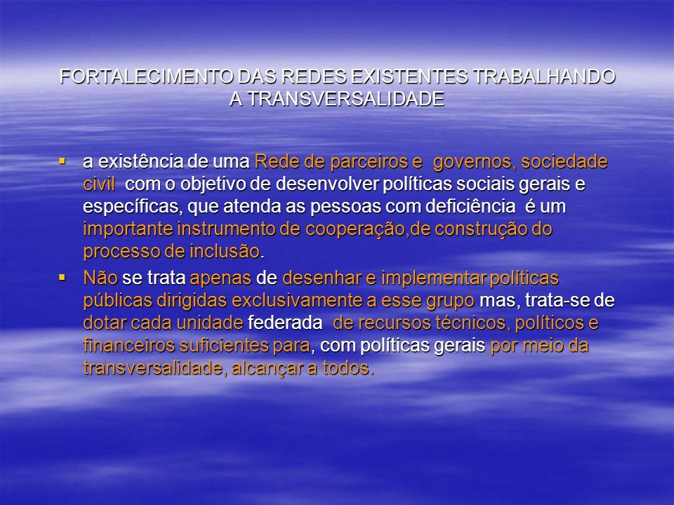 FORTALECIMENTO DAS REDES EXISTENTES TRABALHANDO A TRANSVERSALIDADE a existência de uma Rede de parceiros e governos, sociedade civil com o objetivo de