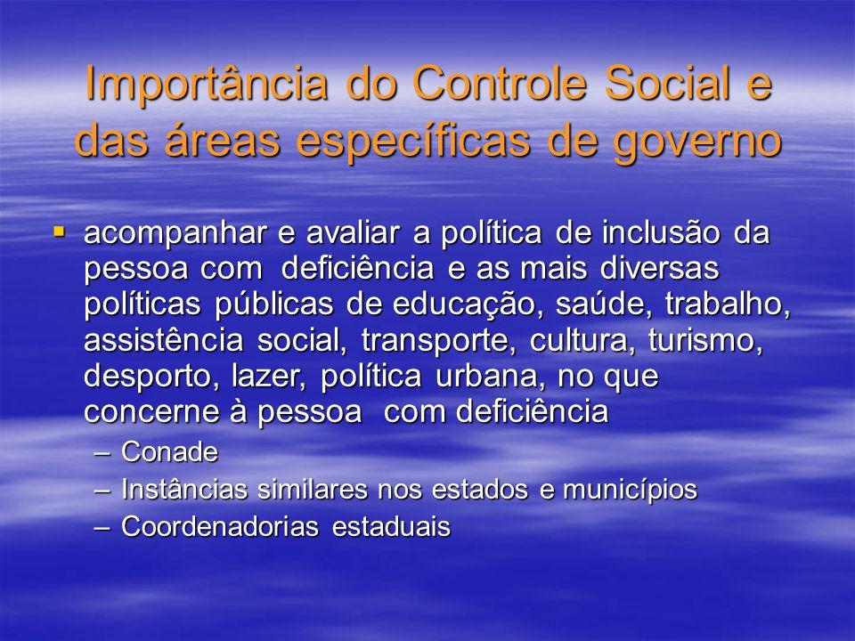 acompanhar e avaliar a política de inclusão da pessoa com deficiência e as mais diversas políticas públicas de educação, saúde, trabalho, assistência