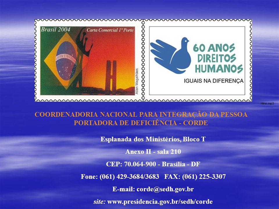 COORDENADORIA NACIONAL PARA INTEGRAÇÃO DA PESSOA PORTADORA DE DEFICIÊNCIA - CORDE Esplanada dos Ministérios, Bloco T Anexo II - sala 210 CEP: 70.064-9
