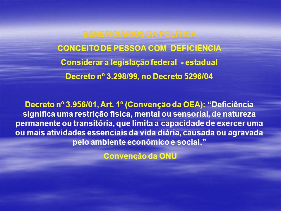 BENEFICIÁRIOS DA POLÍTICA CONCEITO DE PESSOA COM DEFICIÊNCIA Considerar a legislação federal - estadual Decreto nº 3.298/99, no Decreto 5296/04 Decret