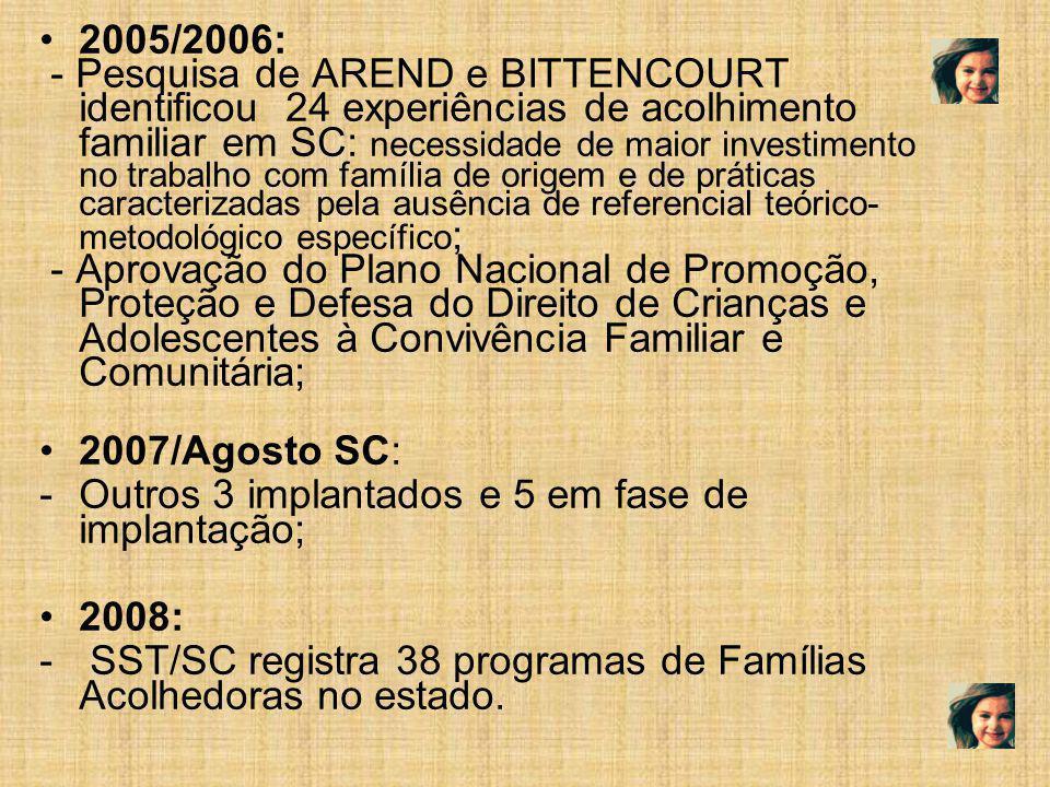 2005/2006: - Pesquisa de AREND e BITTENCOURT identificou 24 experiências de acolhimento familiar em SC: necessidade de maior investimento no trabalho