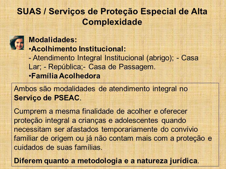 SUAS / Serviços de Proteção Especial de Alta Complexidade Modalidades: Acolhimento Institucional: - Atendimento Integral Institucional (abrigo); - Cas