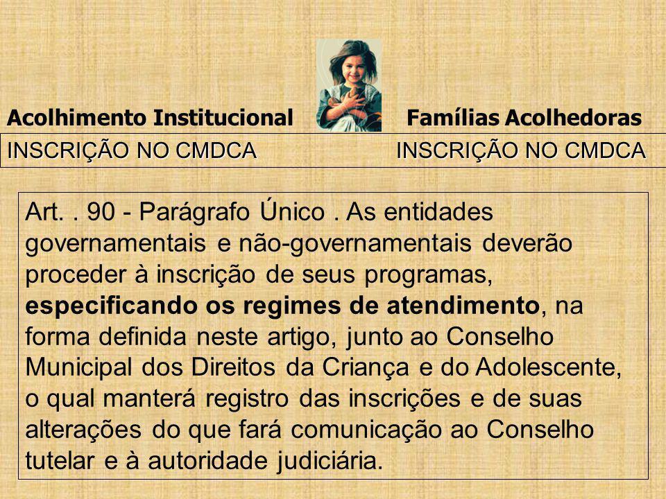 Acolhimento Institucional Famílias Acolhedoras INSCRIÇÃO NO CMDCA INSCRIÇÃO NO CMDCA Art.. 90 - Parágrafo Único. As entidades governamentais e não-gov