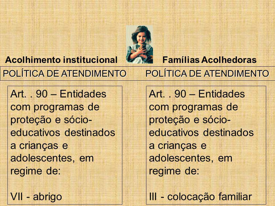 Acolhimento institucional Famílias Acolhedoras POLÍTICA DE ATENDIMENTO POLÍTICA DE ATENDIMENTO Art.. 90 – Entidades com programas de proteção e sócio-