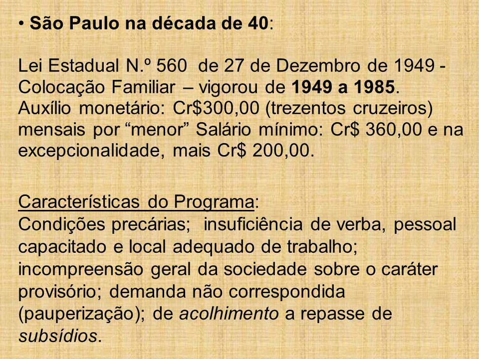 São Paulo na década de 40: Lei Estadual N.º 560 de 27 de Dezembro de 1949 - Colocação Familiar – vigorou de 1949 a 1985. Auxílio monetário: Cr$300,00