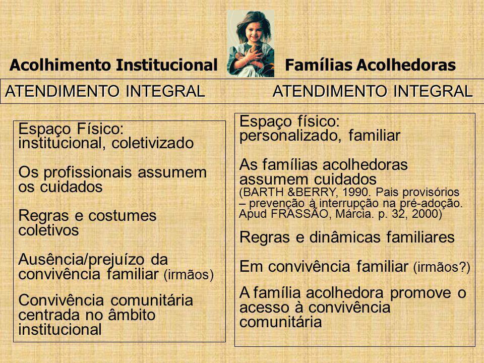 Acolhimento Institucional Famílias Acolhedoras ATENDIMENTO INTEGRAL ATENDIMENTO INTEGRAL Espaço Físico: institucional, coletivizado Os profissionais a