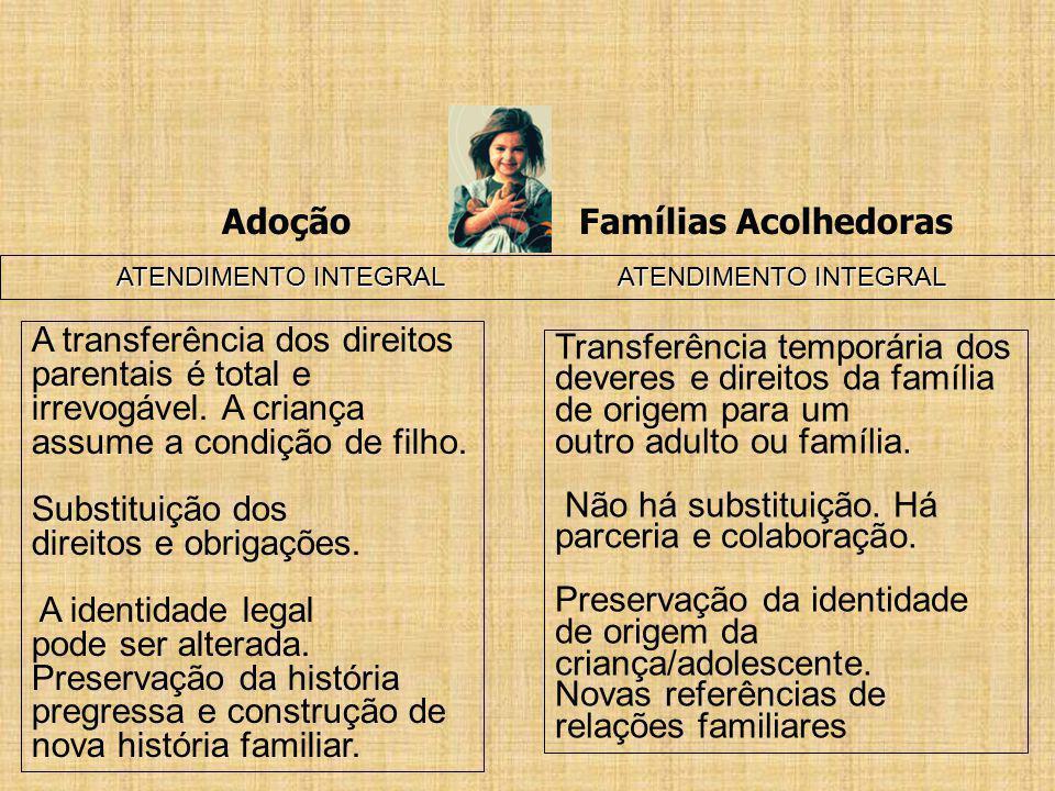 Adoção Famílias Acolhedoras ATENDIMENTO INTEGRAL ATENDIMENTO INTEGRAL A transferência dos direitos parentais é total e irrevogável. A criança assume a