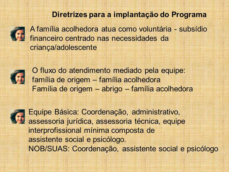 Equipe Básica: Coordenação, administrativo, assessoria jurídica, assessoria técnica, equipe interprofissional mínima composta de assistente social e p