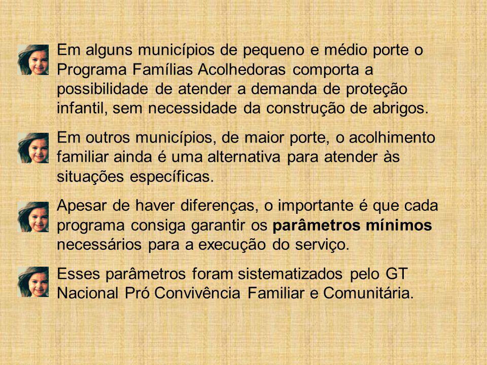 Em alguns municípios de pequeno e médio porte o Programa Famílias Acolhedoras comporta a possibilidade de atender a demanda de proteção infantil, sem