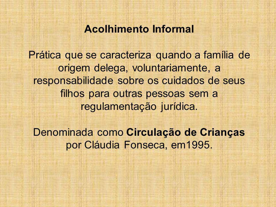Acolhimento Informal Prática que se caracteriza quando a família de origem delega, voluntariamente, a responsabilidade sobre os cuidados de seus filho