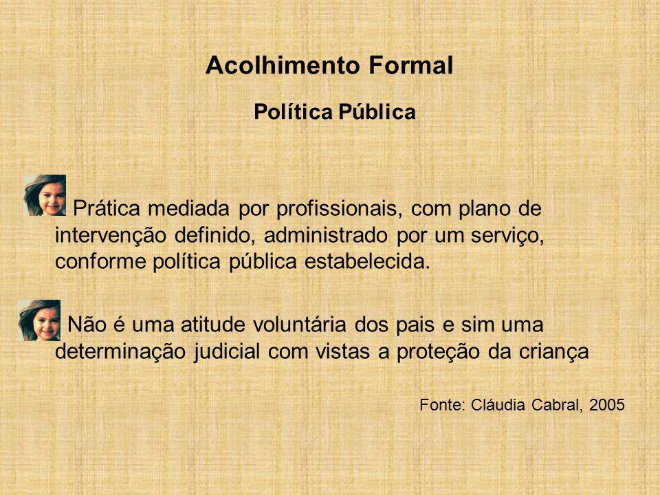 Acolhimento Formal Política Pública Prática mediada por profissionais, com plano de intervenção definido, administrado por um serviço, conforme políti