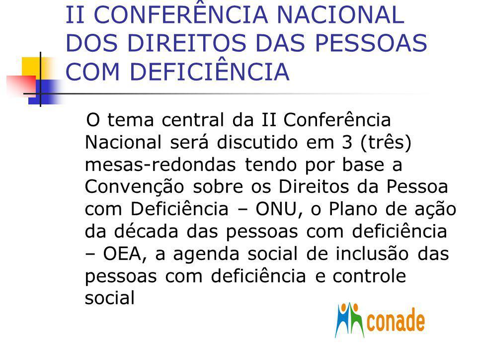 II CONFERÊNCIA NACIONAL DOS DIREITOS DAS PESSOAS COM DEFICIÊNCIA O tema central da II Conferência Nacional será discutido em 3 (três) mesas-redondas t