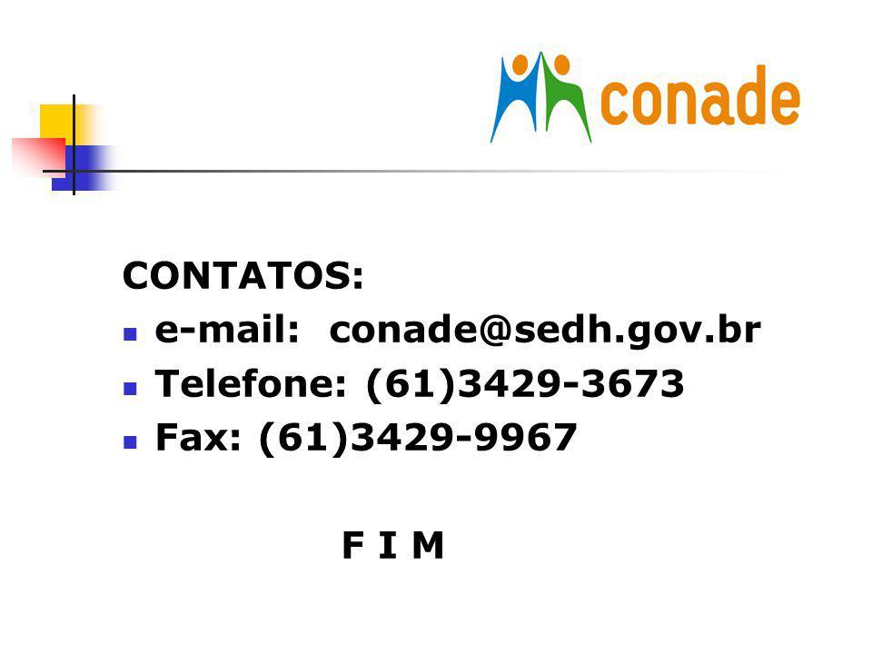 CONTATOS: e-mail: conade@sedh.gov.br Telefone: (61)3429-3673 Fax: (61)3429-9967 F I M