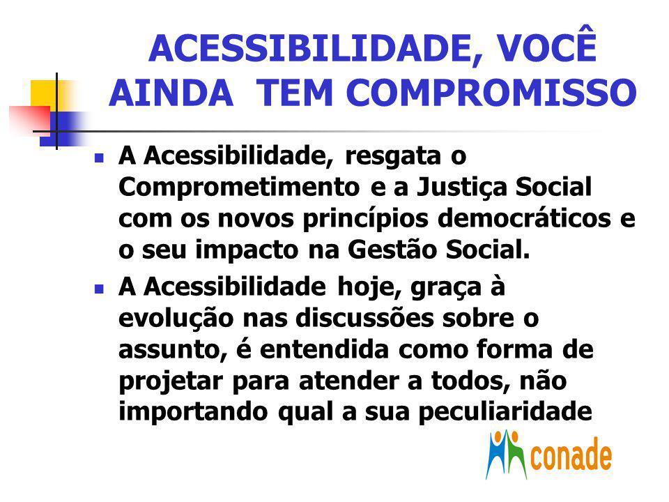EVOLUÇÃO DA ACESSIBILIDADE SANÇÃO DO DECRETO Nº 5.296, assinada pelo Presidente da República em 2 de dezembro de 2004 I Conferência Nacional de Direitos da Pessoa com deficiência - em maio de 2005 – Tema: Acessibilidade Lançamento da Campanha da Acessibilidade – Vídeo da Campanha – Veiculação nos canais de comunicação