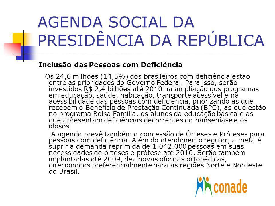 AGENDA SOCIAL DA PRESIDÊNCIA DA REPÚBLICA Inclusão das Pessoas com Deficiência Os 24,6 milhões (14,5%) dos brasileiros com deficiência estão entre as