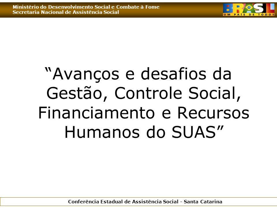 Ministério do Desenvolvimento Social e Combate à Fome Secretaria Nacional de Assistência Social Conferência Estadual de Assistência Social - Santa Catarina Avanços e desafios da Gestão, Controle Social, Financiamento e Recursos Humanos do SUAS