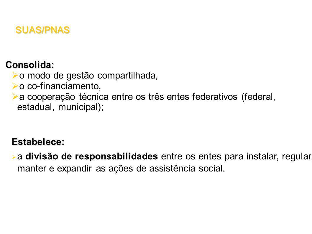 Consolida: o modo de gestão compartilhada, o co-financiamento, a cooperação técnica entre os três entes federativos (federal, estadual, municipal);Estabelece:.