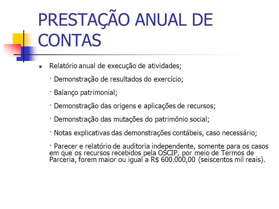PRESTAÇÃO ANUAL DE CONTAS Relatório anual de execução de atividades; · Demonstração de resultados do exercício; · Balanço patrimonial; · Demonstração