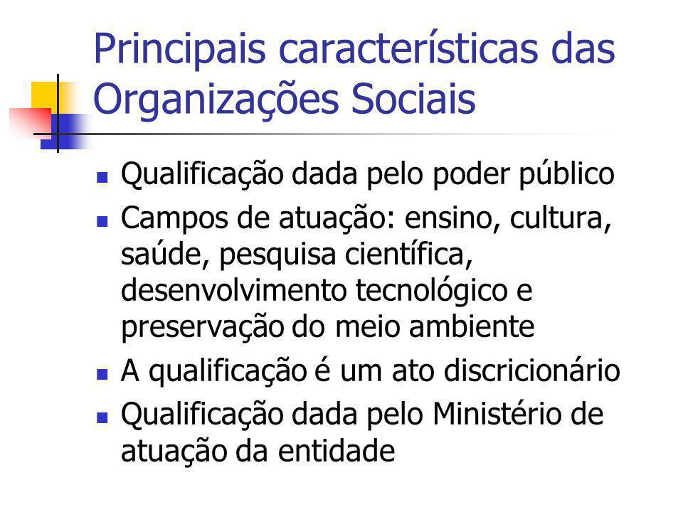Principais características das Organizações Sociais Qualificação dada pelo poder público Campos de atuação: ensino, cultura, saúde, pesquisa científic