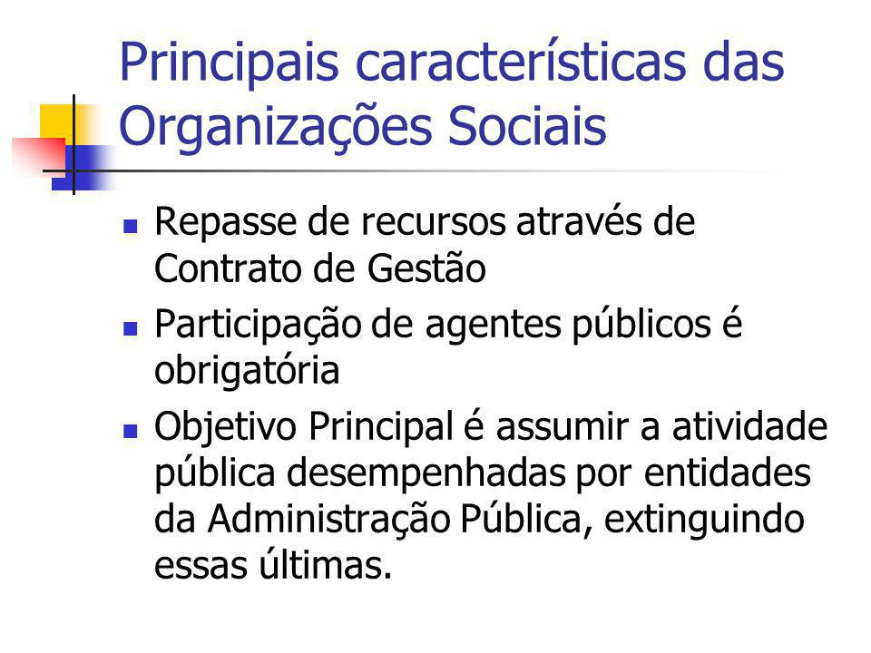 Principais características das Organizações Sociais Repasse de recursos através de Contrato de Gestão Participação de agentes públicos é obrigatória O