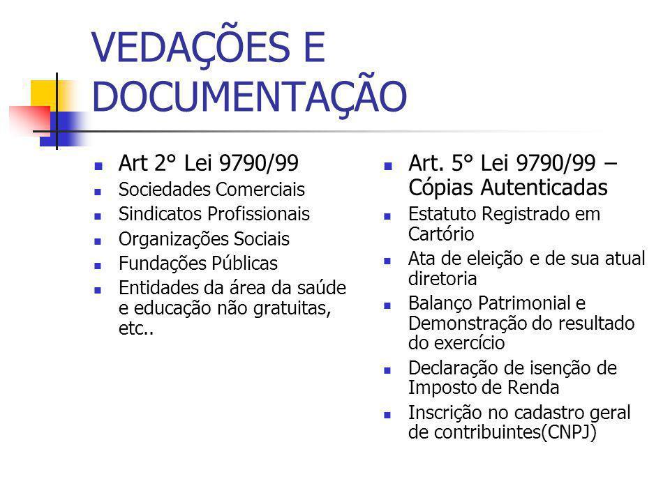 VEDAÇÕES E DOCUMENTAÇÃO Art 2° Lei 9790/99 Sociedades Comerciais Sindicatos Profissionais Organizações Sociais Fundações Públicas Entidades da área da