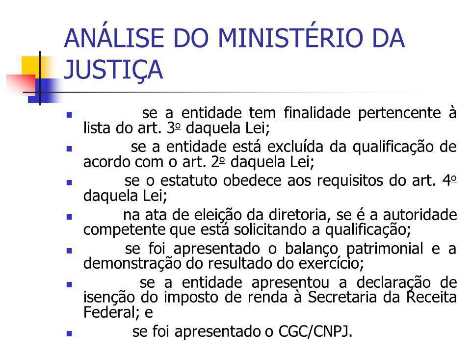 ANÁLISE DO MINISTÉRIO DA JUSTIÇA se a entidade tem finalidade pertencente à lista do art. 3 o daquela Lei; se a entidade está excluída da qualificação