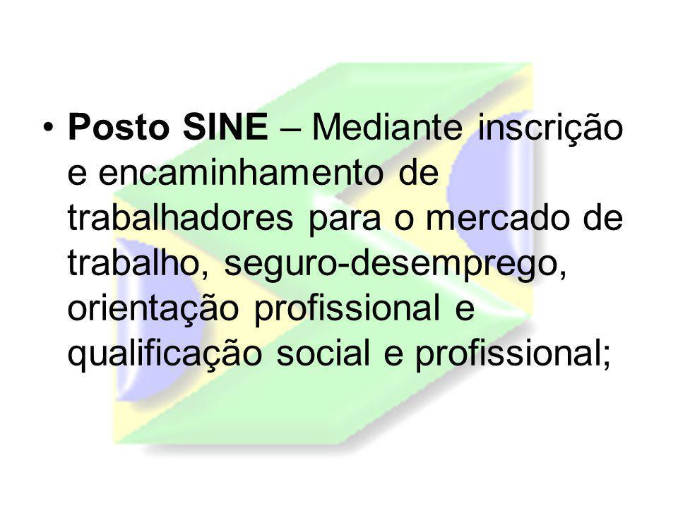 Posto SINE – Mediante inscrição e encaminhamento de trabalhadores para o mercado de trabalho, seguro-desemprego, orientação profissional e qualificaçã