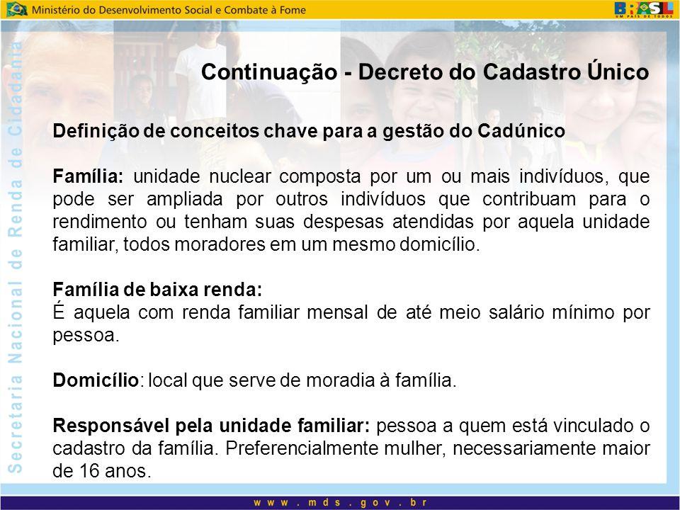 Continuação - Decreto do Cadastro Único Definição de conceitos chave para a gestão do Cadúnico Família: unidade nuclear composta por um ou mais indiví
