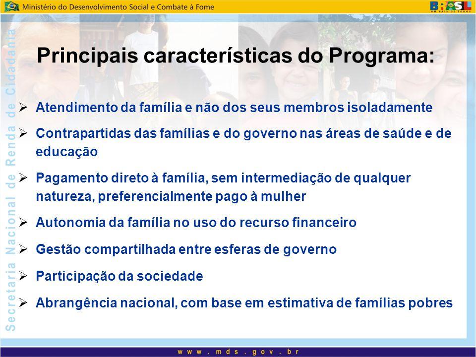 Atendimento da família e não dos seus membros isoladamente Contrapartidas das famílias e do governo nas áreas de saúde e de educação Pagamento direto