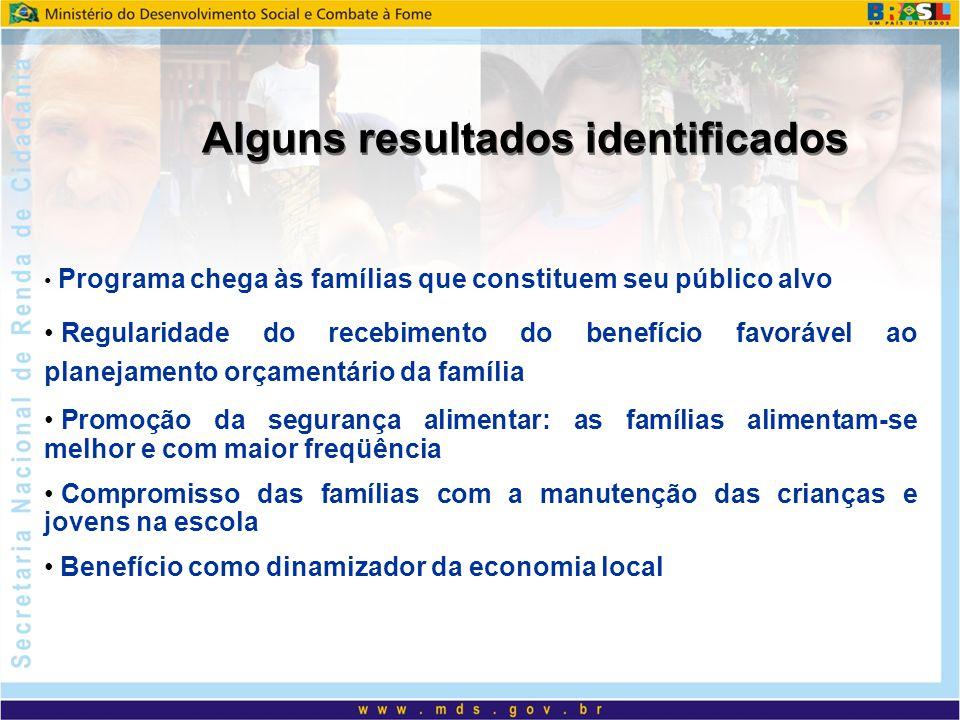 Alguns resultados identificados Programa chega às famílias que constituem seu público alvo Regularidade do recebimento do benefício favorável ao plane