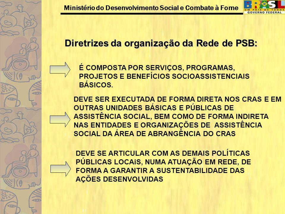 Ministério do Desenvolvimento Social e Combate à Fome Diretrizes da organização da Rede de PSB: DEVE SER EXECUTADA DE FORMA DIRETA NOS CRAS E EM OUTRA