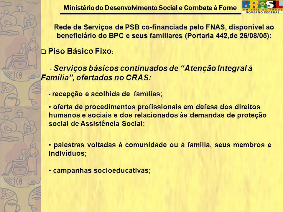 Ministério do Desenvolvimento Social e Combate à Fome Rede de Serviços de PSB co-financiada pelo FNAS, disponível ao beneficiário do BPC e seus famili