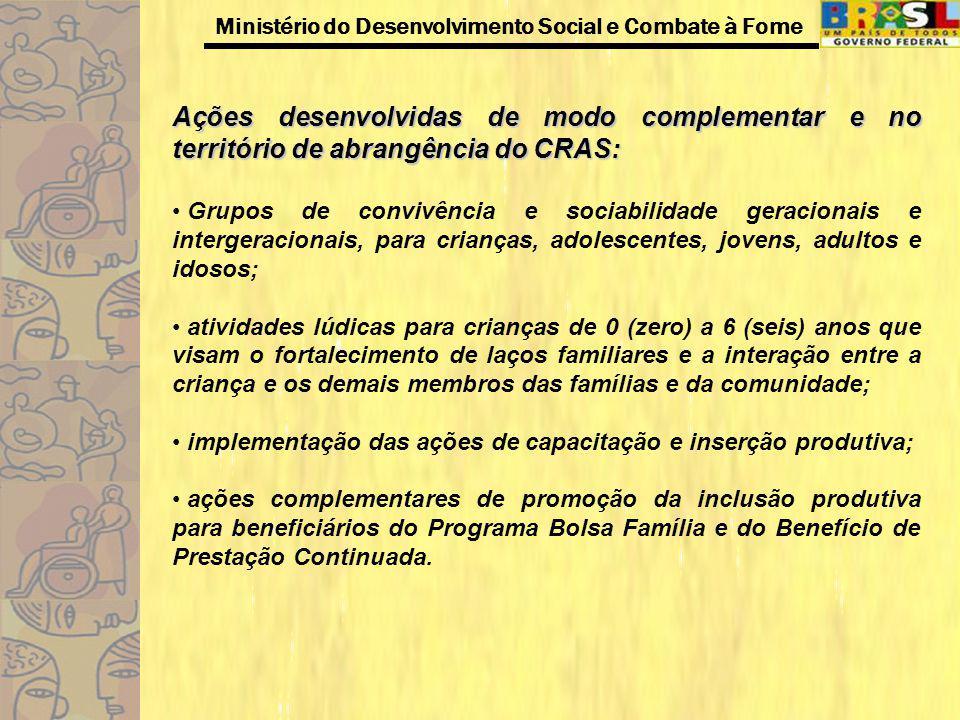 Ministério do Desenvolvimento Social e Combate à Fome Ações desenvolvidas de modo complementar e no território de abrangência do CRAS: Grupos de convi