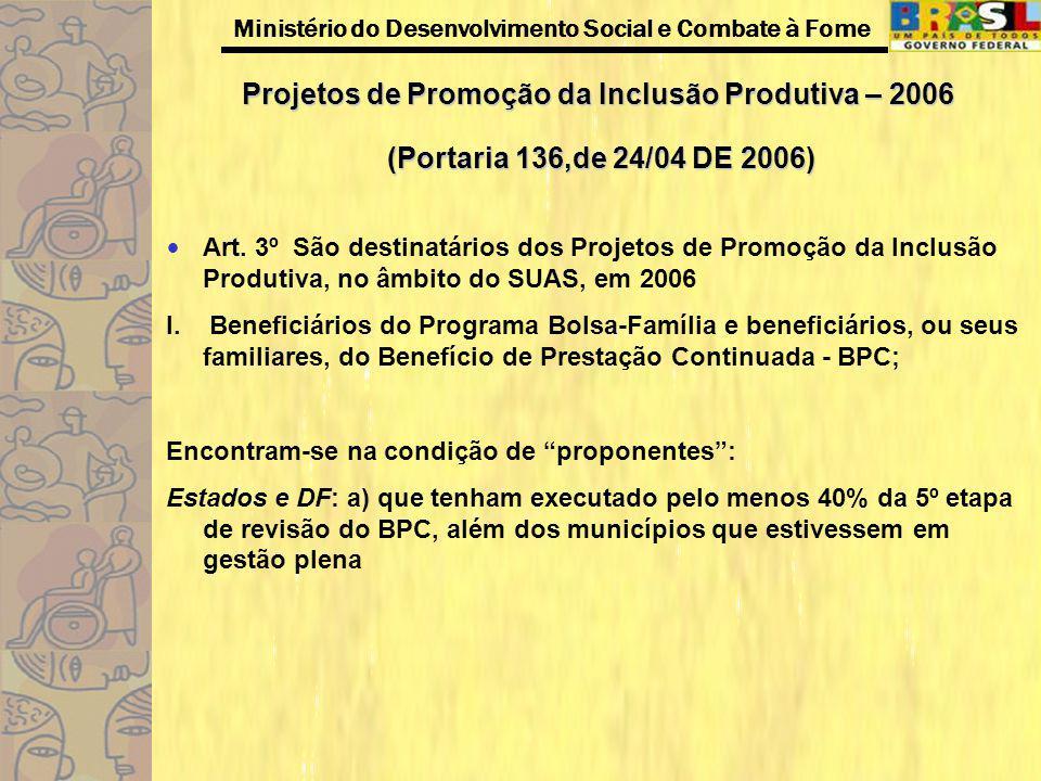 Ministério do Desenvolvimento Social e Combate à Fome Projetos de Promoção da Inclusão Produtiva – 2006 (Portaria 136,de 24/04 DE 2006) Art. 3º São de