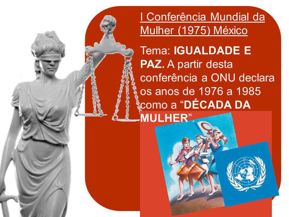 & política de mulheres I Conferência Mundial da Mulher (1975) México Tema: IGUALDADE E PAZ. A partir desta conferência a ONU declara os anos de 1976 a