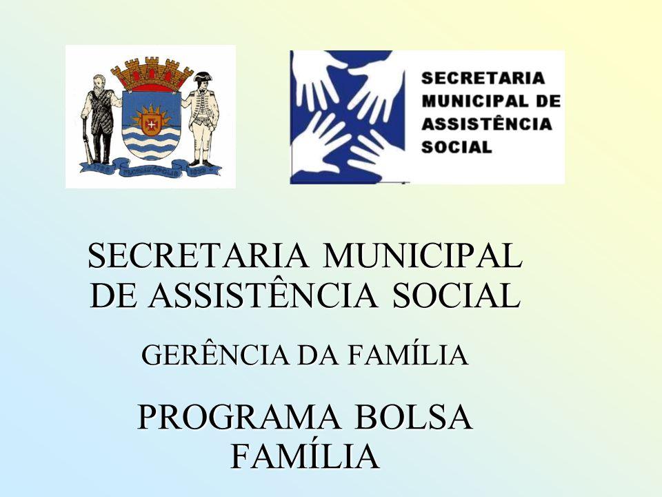 SECRETARIA MUNICIPAL DE ASSISTÊNCIA SOCIAL GERÊNCIA DA FAMÍLIA PROGRAMA BOLSA FAMÍLIA