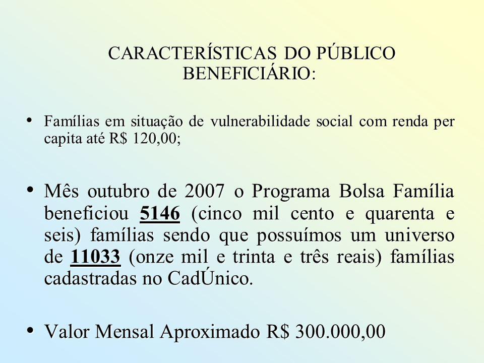 CARACTERÍSTICAS DO PÚBLICO BENEFICIÁRIO: CARACTERÍSTICAS DO PÚBLICO BENEFICIÁRIO: Famílias em situação de vulnerabilidade social com renda per capita