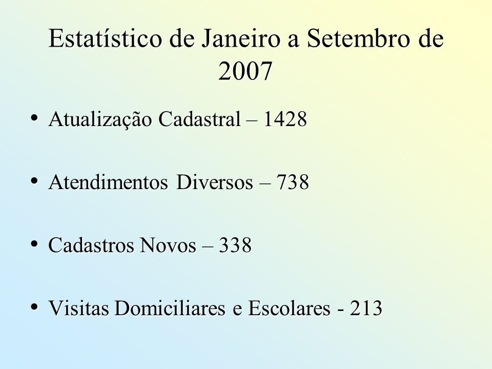Estatístico de Janeiro a Setembro de 2007 Atualização Cadastral – 1428 Atualização Cadastral – 1428 Atendimentos Diversos – 738 Atendimentos Diversos
