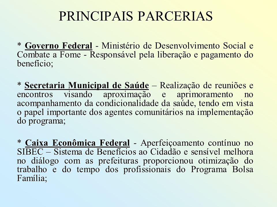 PRINCIPAIS PARCERIAS * Governo Federal - Ministério de Desenvolvimento Social e Combate a Fome - Responsável pela liberação e pagamento do benefício;