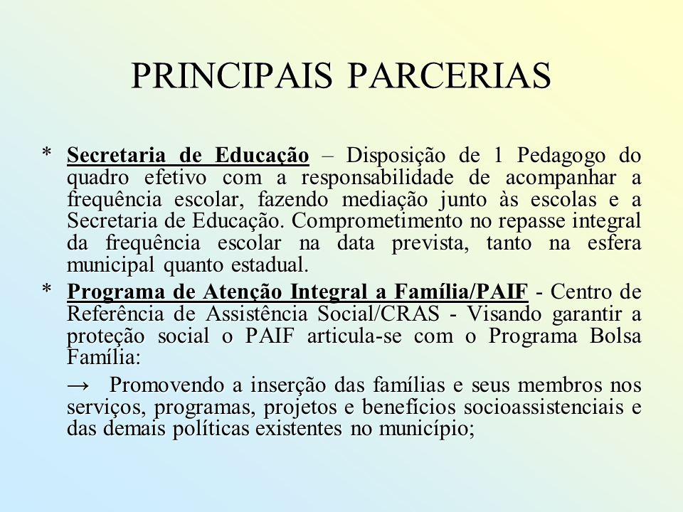 PRINCIPAIS PARCERIAS *Secretaria de Educação – Disposição de 1 Pedagogo do quadro efetivo com a responsabilidade de acompanhar a frequência escolar, f
