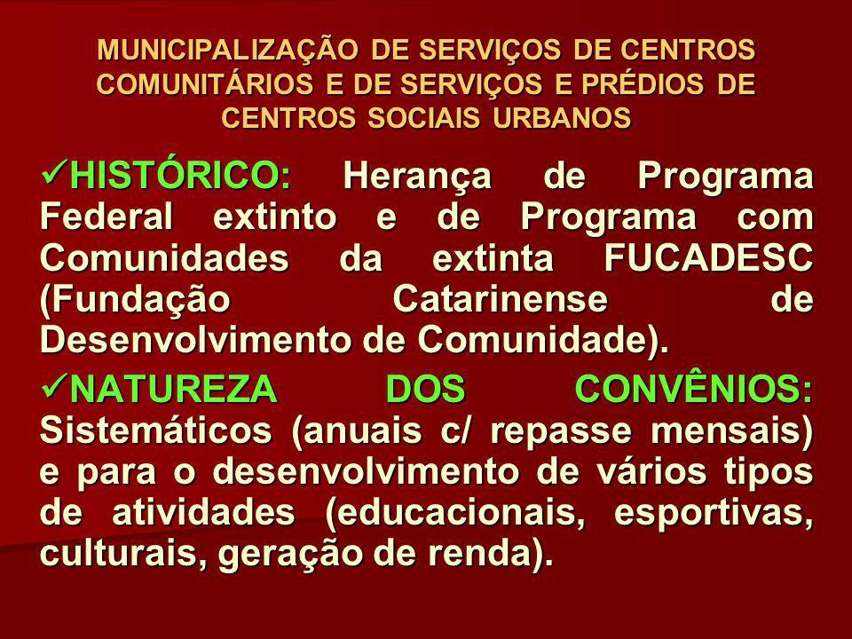 SURGIMENTO DA POLÍTICA DE ASSISTÊNCIA SOCIAL(LOAS/PNAS/SUAS): SURGIMENTO DA POLÍTICA DE ASSISTÊNCIA SOCIAL(LOAS/PNAS/SUAS): Tais convênios entraram na relação de ações transitórias (a serem extintas) e, igualmente, estes Centros deixaram de fazer parte das ações da política de assistência social, pelos seguintes motivos: Tais convênios entraram na relação de ações transitórias (a serem extintas) e, igualmente, estes Centros deixaram de fazer parte das ações da política de assistência social, pelos seguintes motivos: - Dizem respeito a serviços locais (municipais), caracterizando-se como de Proteção Social Básica; - Não cabe ao FEAS/SC financiar entidades, mas transferir recursos aos FMASs para co-financiar serviços socioassistenciais; - Não se coadunam com o processo de critérios de co- financiamento (piso de proteção social básica), à medida que desenvolvem atividades e/ou serviços de educação, esporte, culturais, que não são da política de assistência social; - Não há mais nenhuma legislação que sustente o processo convenial com estes Centros.