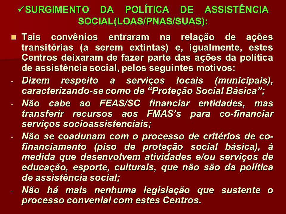SURGIMENTO DA POLÍTICA DE ASSISTÊNCIA SOCIAL(LOAS/PNAS/SUAS): SURGIMENTO DA POLÍTICA DE ASSISTÊNCIA SOCIAL(LOAS/PNAS/SUAS): Tais convênios entraram na
