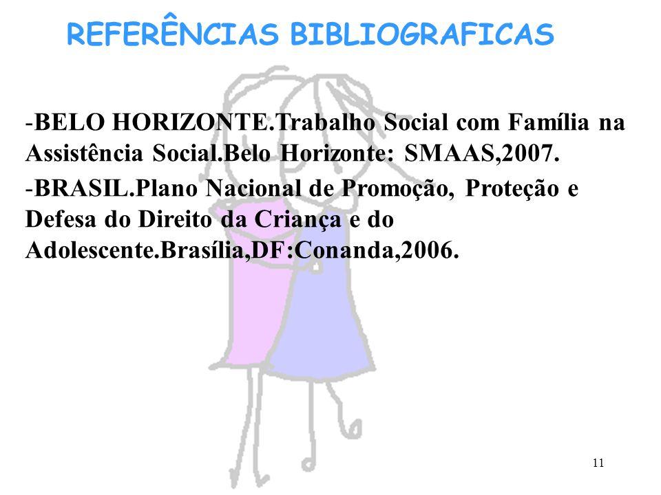 11 REFERÊNCIAS BIBLIOGRAFICAS -BELO HORIZONTE.Trabalho Social com Família na Assistência Social.Belo Horizonte: SMAAS,2007. -BRASIL.Plano Nacional de