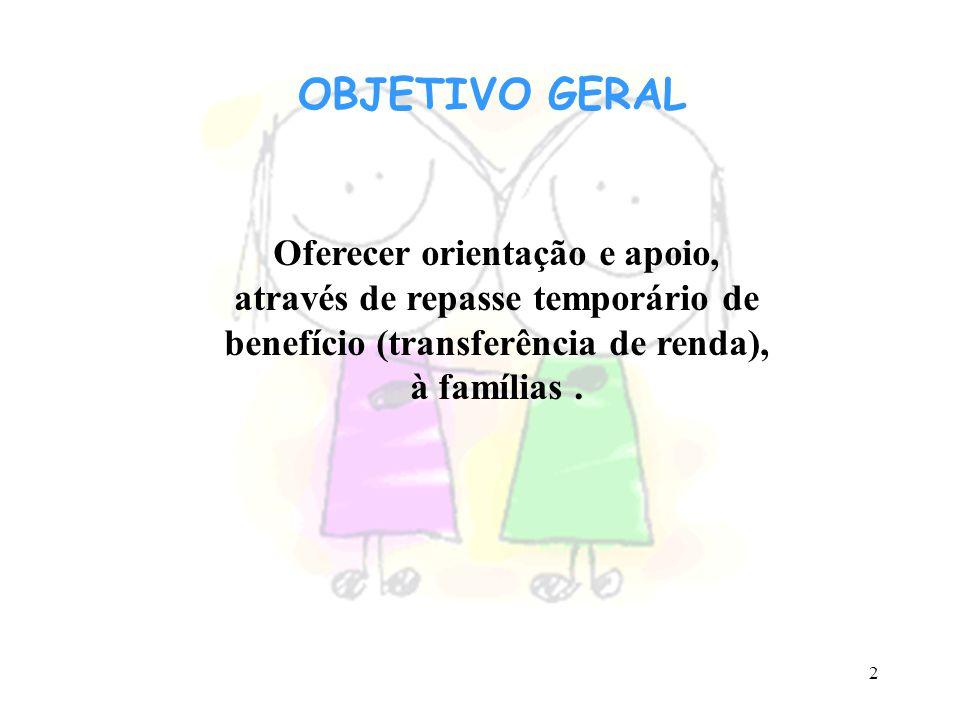 2 OBJETIVO GERAL Oferecer orientação e apoio, através de repasse temporário de benefício (transferência de renda), à famílias.