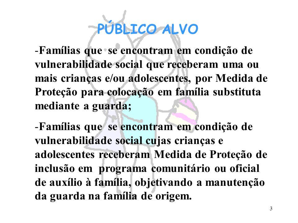 3 PÚBLICO ALVO -Famílias que se encontram em condição de vulnerabilidade social que receberam uma ou mais crianças e/ou adolescentes, por Medida de Pr