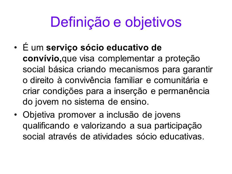 Definição e objetivos É um serviço sócio educativo de convívio,que visa complementar a proteção social básica criando mecanismos para garantir o direi