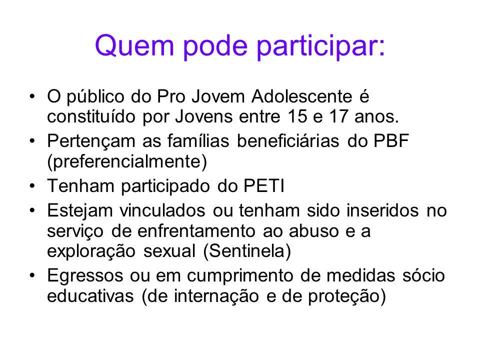 Quem pode participar: O público do Pro Jovem Adolescente é constituído por Jovens entre 15 e 17 anos. Pertençam as famílias beneficiárias do PBF (pref