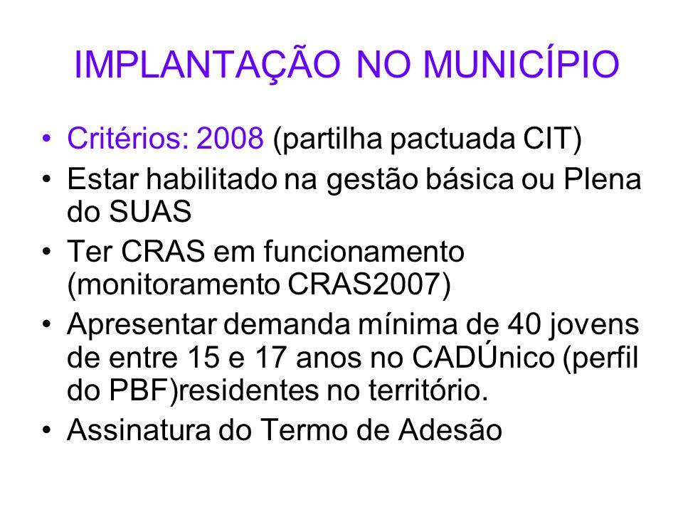 IMPLANTAÇÃO NO MUNICÍPIO Critérios: 2008 (partilha pactuada CIT) Estar habilitado na gestão básica ou Plena do SUAS Ter CRAS em funcionamento (monitor