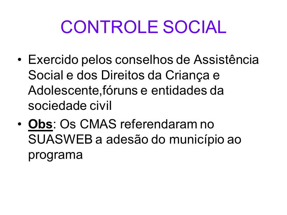 CONTROLE SOCIAL Exercido pelos conselhos de Assistência Social e dos Direitos da Criança e Adolescente,fóruns e entidades da sociedade civil Obs: Os C