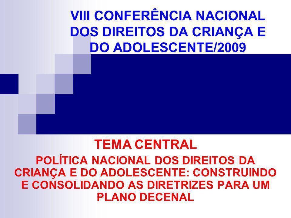 VIII CONFERÊNCIA NACIONAL DOS DIREITOS DA CRIANÇA E DO ADOLESCENTE/2009 TEMA CENTRAL POLÍTICA NACIONAL DOS DIREITOS DA CRIANÇA E DO ADOLESCENTE: CONST